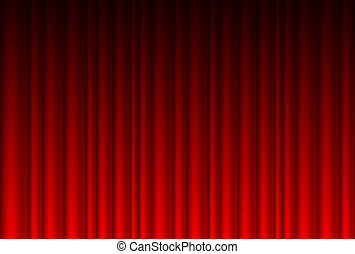 Realistic red curtain. Illustration for design