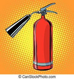 realistic red fire extinguisher pop art retro vector. tool...