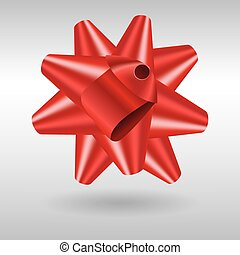 Realistic red gift bow, vector icon