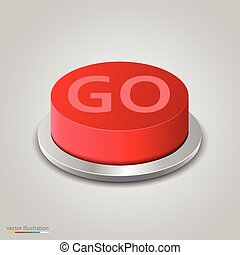 Realistic red go button on white background