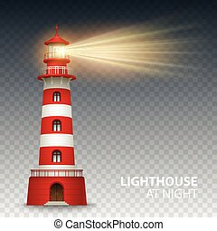 Realistic red lighthouse building isolated on white...