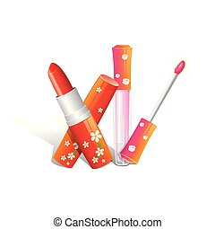 realistic red lipstick . Illustration on white background.