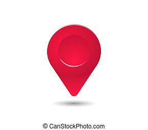 Realistic red map pin pointer symbol. 3D style pointer sign. Vector isolated illustration.