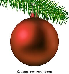 Realistic red matte Christmas ball or bauble with fir branch isolated on white background. Vector illustration