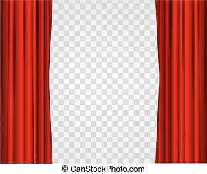 Realistic Red Opened Stage Curtains on a Transparent Background. Vector