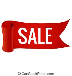 Realistic red paper sale banner, vector illustration