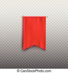 Realistic red pennant flag mockup isolated on transparent background.