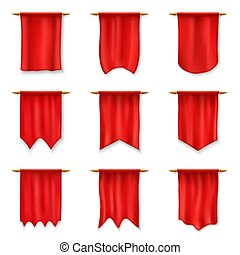 Realistic red pennants, Medieval royal flag banner