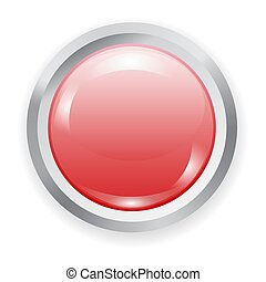realistic red plastic button with metal elements
