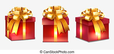 Realistic red presents with gold ribbon
