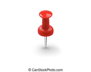 Realistic red push pin isolated on white background
