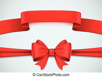 Realistic red ribbon set on white background.