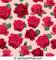 Realistic red roses pattern