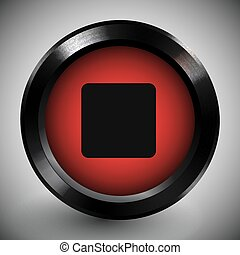 Realistic Red Stop Button Icon Dark Metal Frame