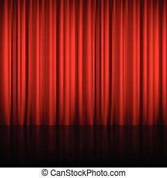 Realistic Red Theatrical Closed Curtain