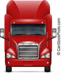 Realistic red truck vector illustration