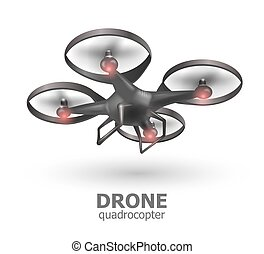 Realistic remote air drone quadrocopter flying on white background. Isomertic view. Vector illustration
