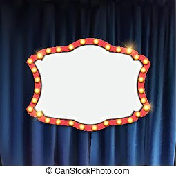 Realistic retro cinema announcement board with bulb frame on curtains background. Vector Illustration