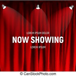 Realistic retro cinema Now Showing announcement board with bulb frame on curtains background. Vector Illustration
