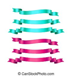 Realistic ribbons isolated on white background. Vector design elements set.