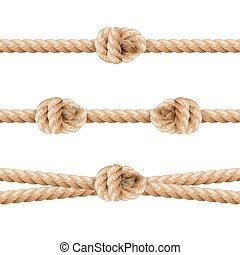 Realistic Rope Line Eith Knot. Yellow Twisted Ropes Set, Isolated On White Background. Vector Illustration
