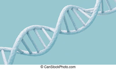 Realistic rotating DNA molecule on light blue background.