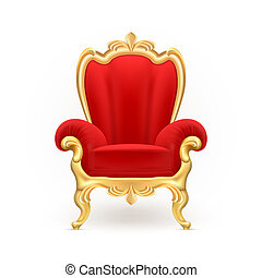 realistic royal throne, luxurious red chair