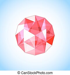 realistic ruby gem jewel. Vector illustration.