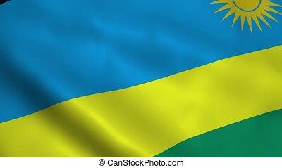 Realistic Rwanda flag waving in the wind. Seamless looping.