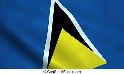 Realistic Saint Lucia flag