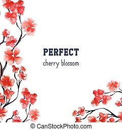 Realistic sakura blossom - Japanese red cherry tree isolated...