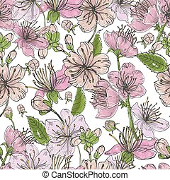 Realistic sakura hand drawn seamless pattern with buds, flowers, leaves. Colorful vintage style illustration.