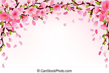 Realistic sakura japan cherry branch