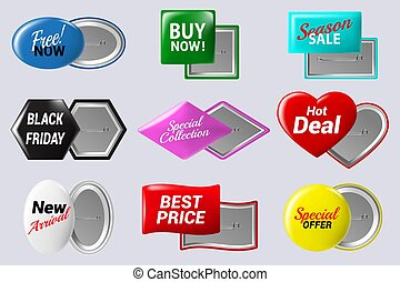 Realistic sale badges buttons. Special offer button badge, glossy colorful metal circle label isolated vector isolated icons set