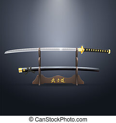 Realistic Samurai Sword and Scabbard on the Stand. Vector...