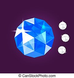 Realistic sapphire jewel. Gem. Vector illustration.
