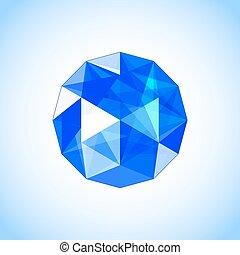 Realistic sapphire shaped. Blue gem. Vector illustration.