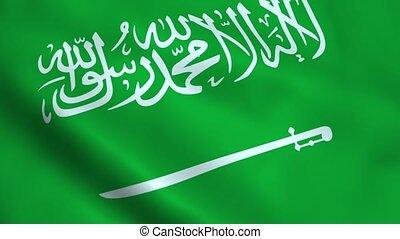 Realistic Saudi Arabia flag waving in the wind. Seamless...