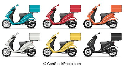 Realistic scooters vector illustration