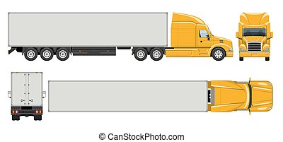 Realistic semi trailer truck vector illustration side, front, back, top view
