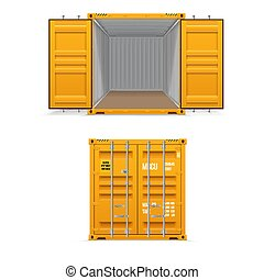 Realistic set of bright yellow cargo containers. Open and closed. Delivery, transportation, shipping freight transportation