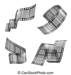 realistic set of film strip, movie tapes