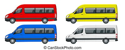 Realistic set of Van template Isolated passenger minibus for corporate identity and advertising. View from side.