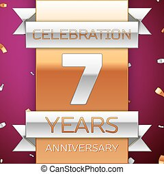 Realistic Seven Years Anniversary Celebration Design. Silver and golden ribbon, confetti on purple background. Colorful Vector template elements for your birthday party. Anniversary ribbon