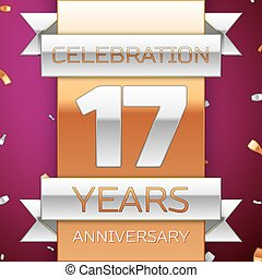 Realistic Seventeen Years Anniversary Celebration Design. Silver and golden ribbon, confetti on purple background. Colorful Vector template elements for your birthday party. Anniversary ribbon