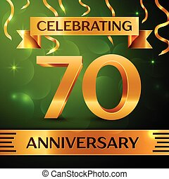 Realistic Seventy Years Anniversary Celebration Design. Confetti and gold ribbon on green background. Colorful Vector template elements for your birthday party. Anniversary ribbon