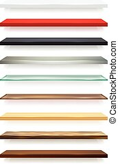 Realistic different colors wooden shelves set attached to the white wall and with shadows vector illustration