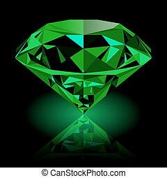 Realistic shining green emerald jewel with reflection and green glow isolated on black background. Colorful gemstone that can be used as part of logo, icon, web decor or other design.
