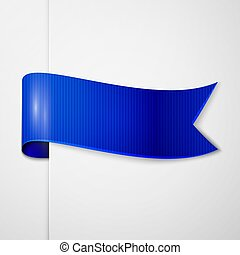 Realistic shiny blue ribbon isolated on white background. With space for text. Vector illustration