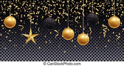 Realistic shiny gold and black balls, star and confetti on a transparent background.
